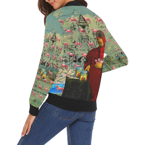 I FOUND THEM IN THERE III All Over Print Bomber Jacket for Women