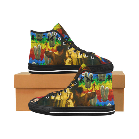 AND THIS, IS THE RAINBOW BRUSH CACTUS. II Women's All Over Print Canvas Sneakers
