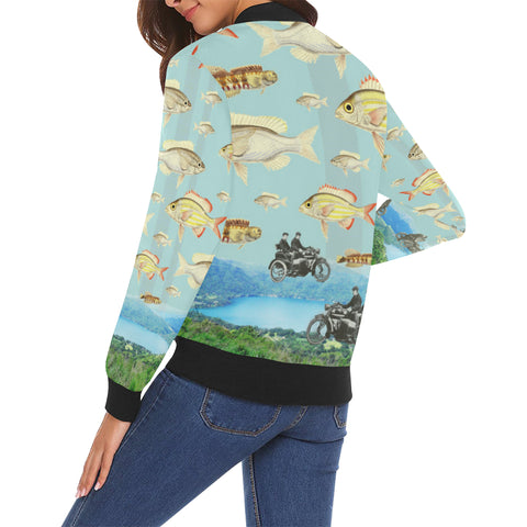 VINTAGE MOTORCYCLES AND COLORFUL FISH... IN THE MOUNTAINS All Over Print Bomber Jacket for Women