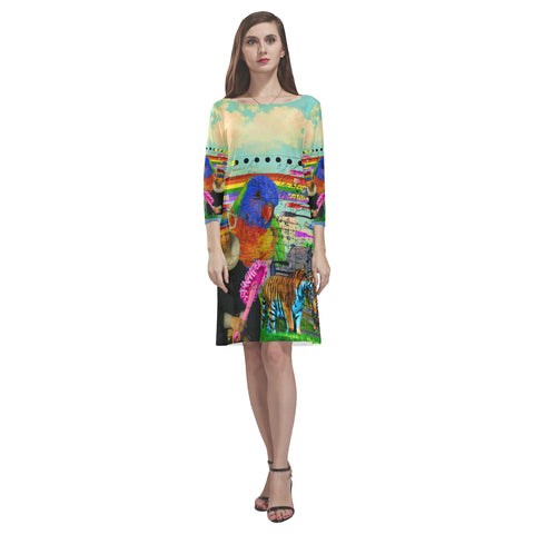 THE BIG PARROT Loose Round Neck Dress