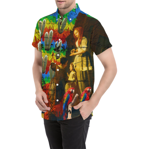 AND THIS, IS THE RAINBOW BRUSH CACTUS. II Men's All Over Print Short Sleeve Button Down Shirt