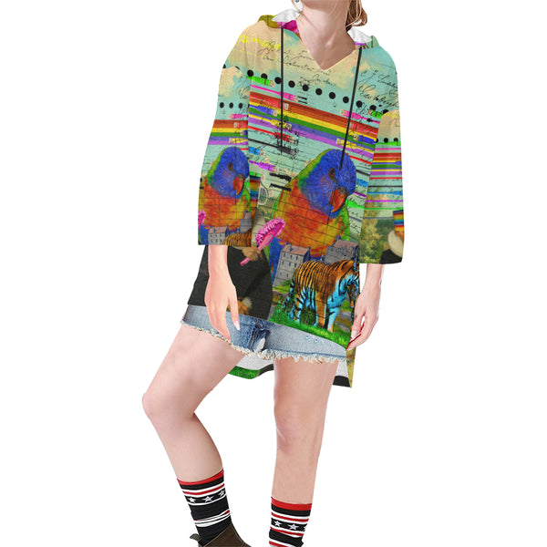 THE BIG PARROT Unisex Step Hem Tunic Hoodie
