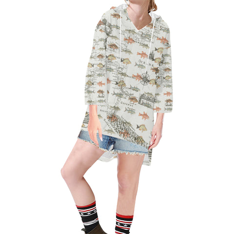 FISH AND A NAUTICAL MAP Unisex Step Hem Tunic Hoodie