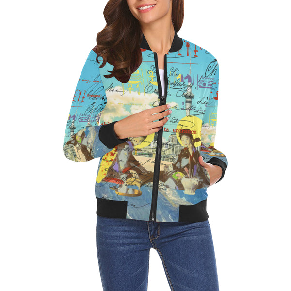 THE CONCERT II All Over Print Bomber Jacket for Women
