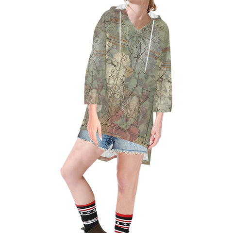 FLOWER PAINTING X MISC. ILLUSTRATIONS Unisex Step Hem Tunic Hoodie