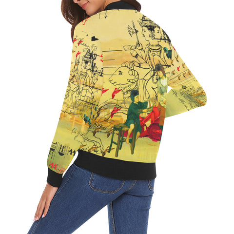 HERE, TAKE IT II All Over Print Bomber Jacket for Women