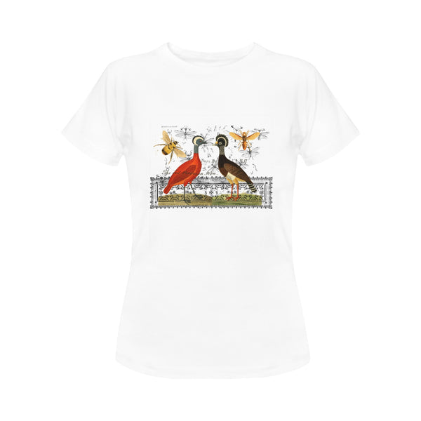 Two Hens, Two Bees and the Illustrated Rug Women's Printed Cotton Tee Shirt