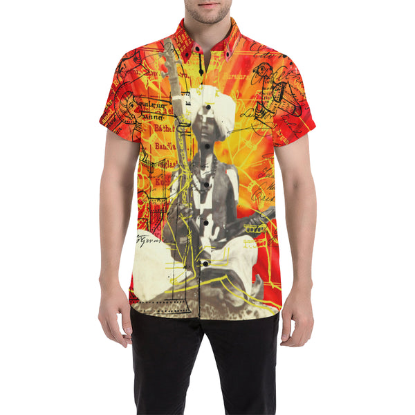 THE SITAR PLAYER Men's All Over Print Short Sleeve Button Down Shirt