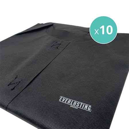 Everlasting black branded disposable aprons x 10