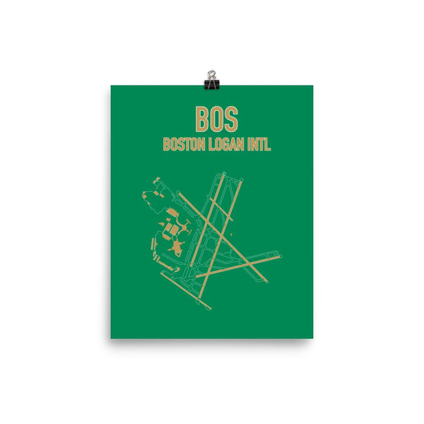 Boston Airport Code Poster (Celtics Colors) - RadarContact