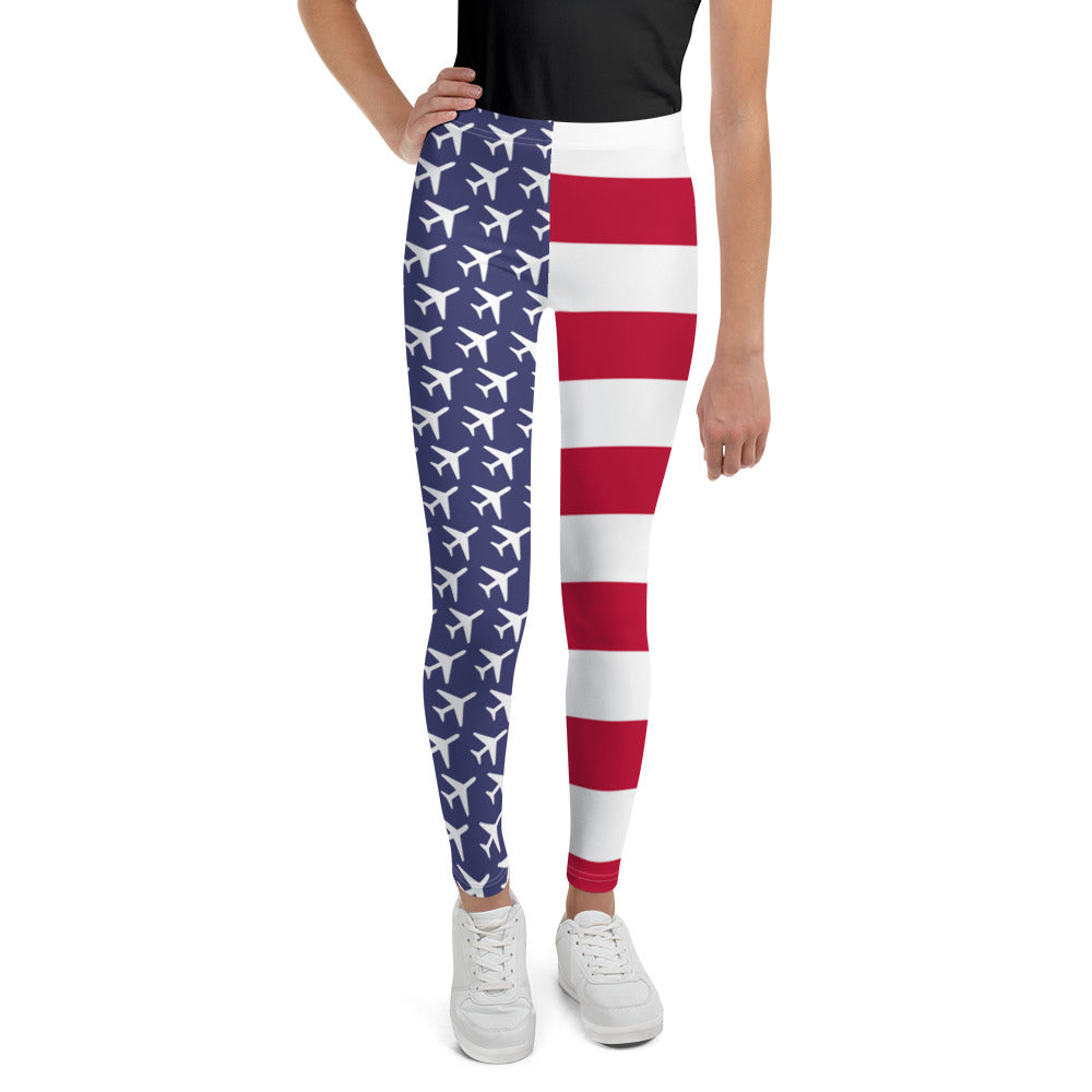 American Aviation Pride Youth Leggings - RadarContact