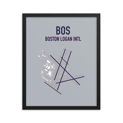 Boston Airport Code Framed Poster (Redsox and Patriots Colors) - RadarContact