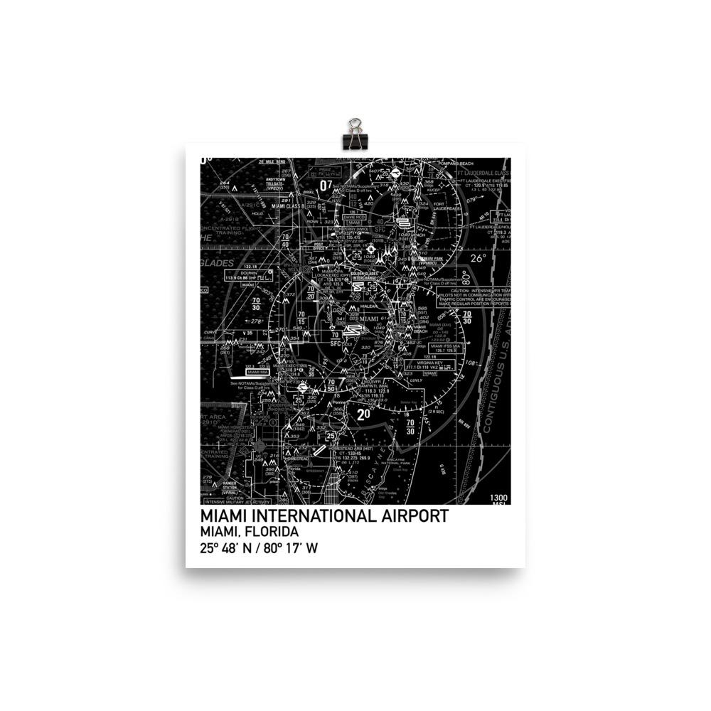 Miami Sectional Poster (Black & White) - RadarContact
