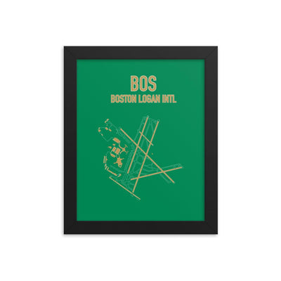 Boston Airport Code Framed Poster (Celtics Colors) - RadarContact - ATC Memes