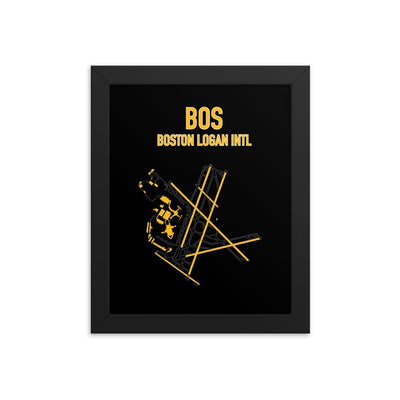 Boston Airport Code Framed Poster (Bruins Colors) - RadarContact