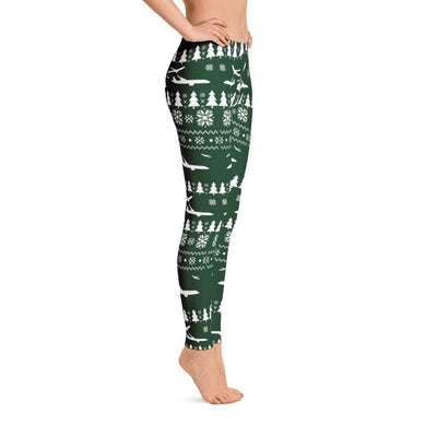Ugly Aviation Christmas Leggings (Green)