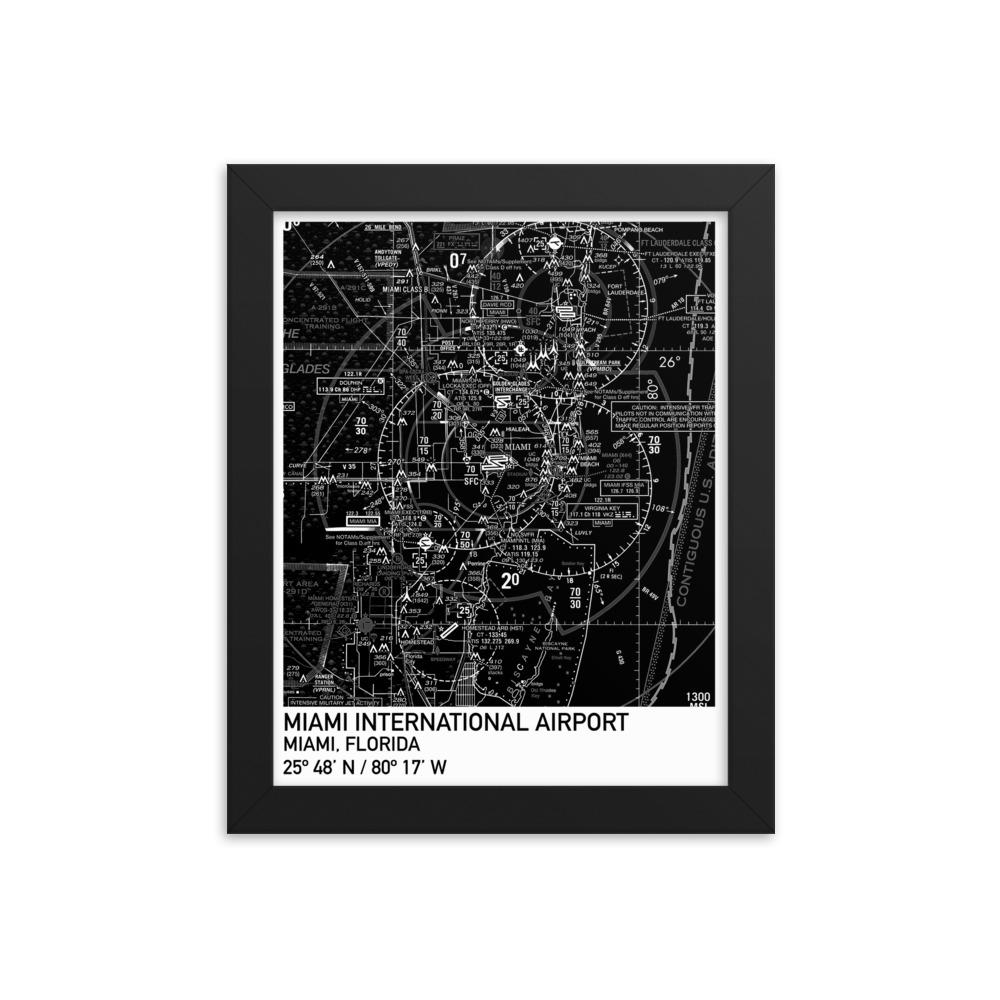 Miami Sectional Framed Poster (Black & White) - RadarContact