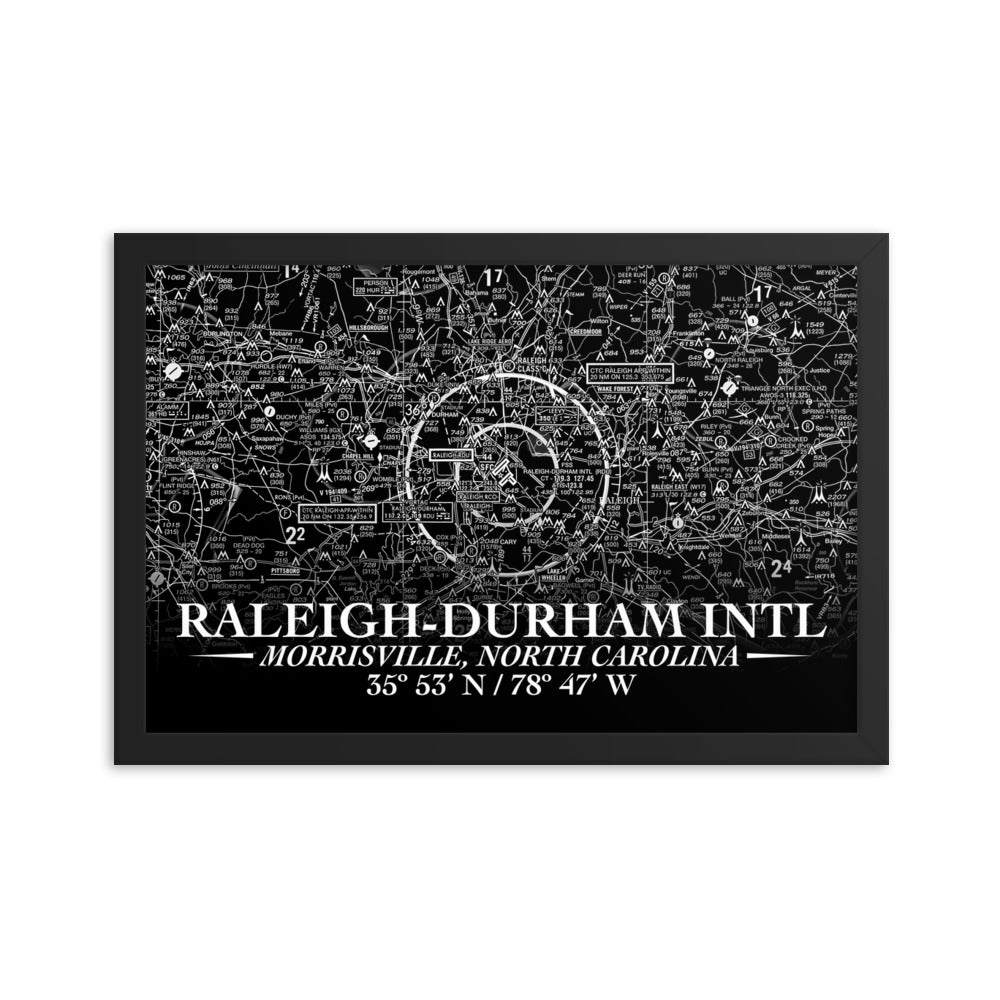 Raleigh-Durham Sectional Framed Poster (Inverted) - RadarContact