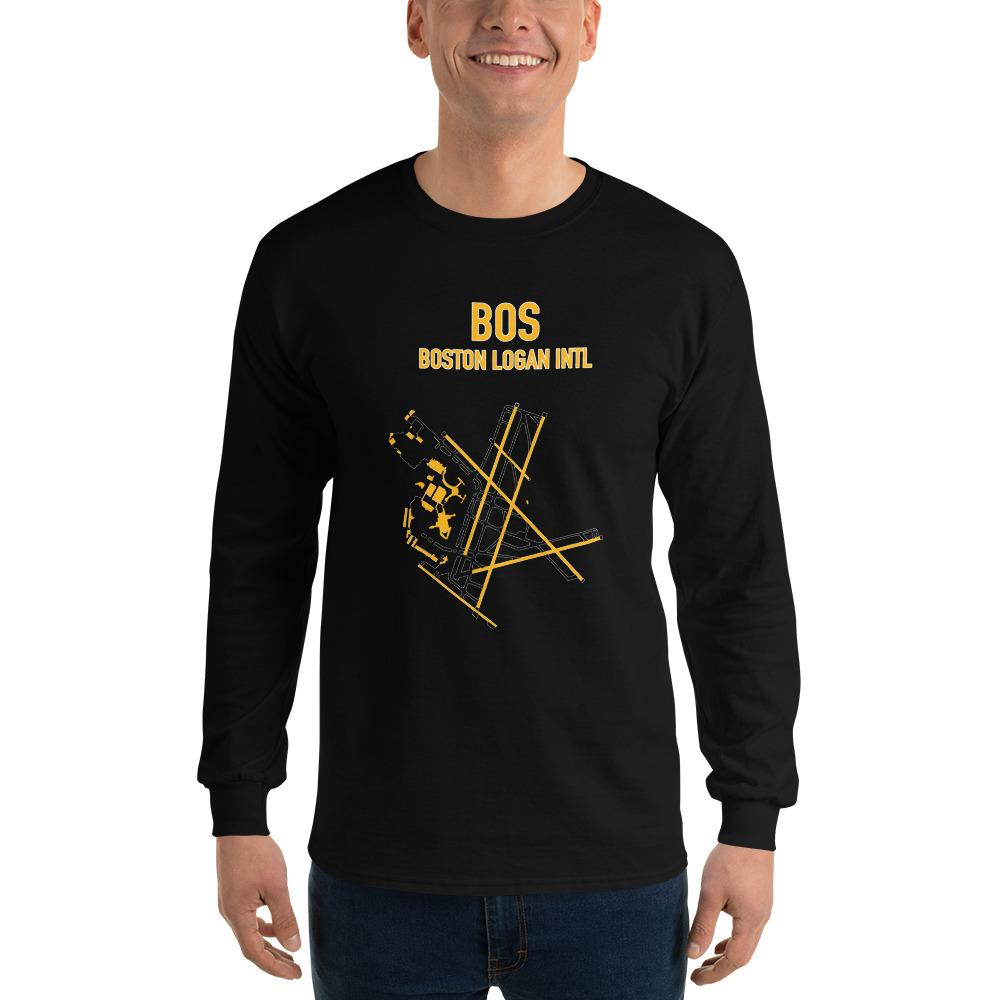 Boston Airport Code Long Sleeve Shirt (Bruins Colors) - RadarContact - ATC Memes