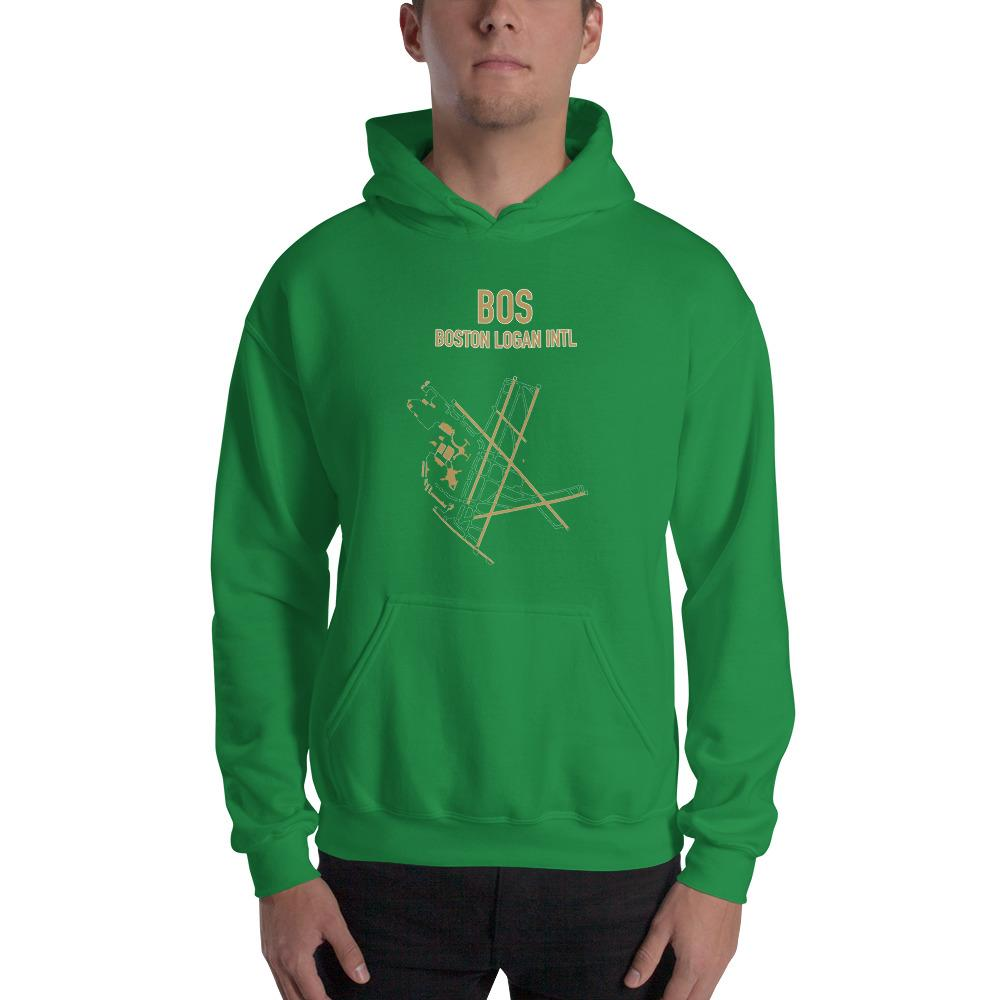 Boston Airport Code Hooded Sweatshirt (Celtics Colors) - RadarContact - ATC Memes