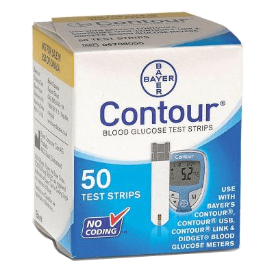 Bayer Contour Diabetic Supply Test Strips for use in diabetes glucose monitors.