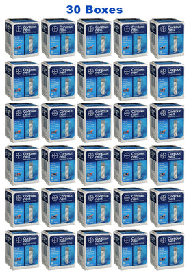 30 boxes of Bayer Contour Next diabetic test strips for sale from our diabetic supply company.