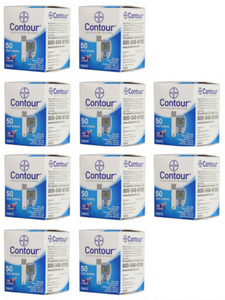 10 boxes of Bayer Contour Test Strips for sale for use in diabetes glucometers