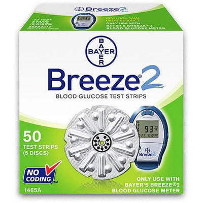 Bayer Breeze 2 Test Strips for use in Breeze glucose test meters.