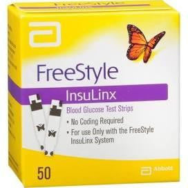 One box of Freestyle Insulinx Diabetic Test Strips for sale from our diabetic supply company.