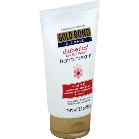Gold Bond Ultimate Diabetic Hand Cream, a necessary diabetic medical supply to keep skin healthy.