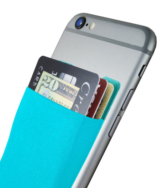 CARDNINJA SMARTPHONE WALLET CARD HOLDER - FLEXIBLE WALLET ADHERES TO MOST SMARTPHONE CASES - HOLDS UP TO 8 CARDS - BLUE RASPBERRY
