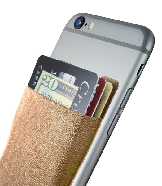 CARDNINJA SMARTPHONE WALLET - FLEXIBLE WALLET ADHERES TO MOST SMARTPHONE CASES - HOLDS UP TO 8 CARDS - GOLD