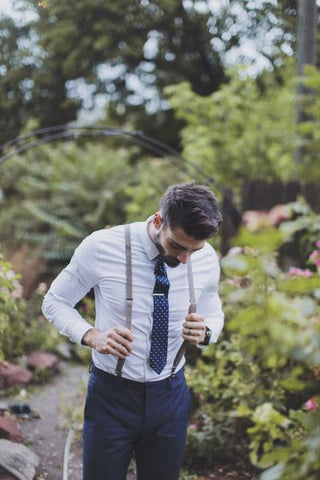 blue polka dot tie and suspenders outfit