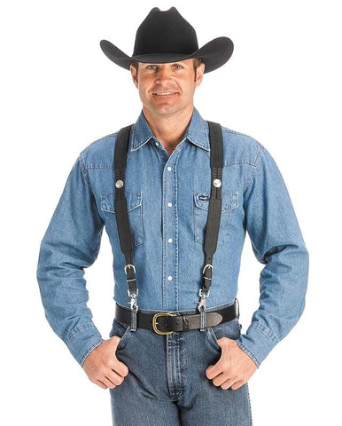 cowboy in suspenders and a belt