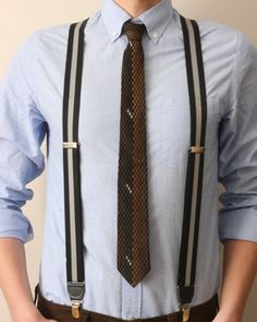matching brown tie and striped suspenders
