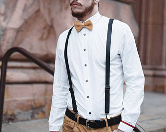 formal outfit with both suspenders and a belt