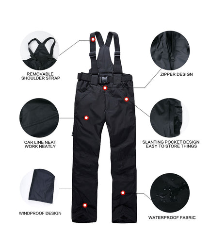 ski pants with suspenders features