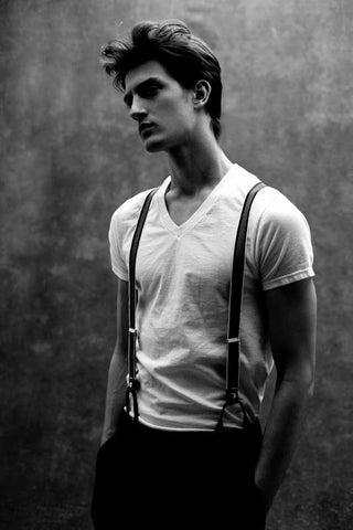 suspenders and a white shirt