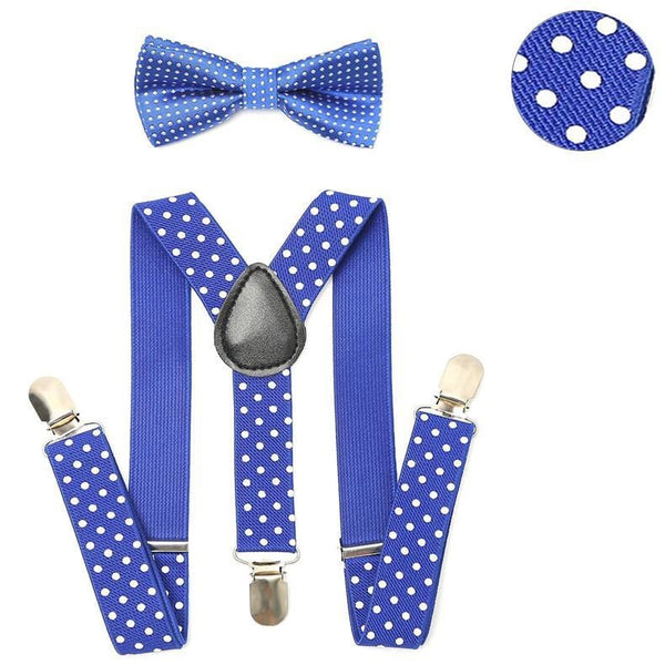 blue polka dotted kids suspenders