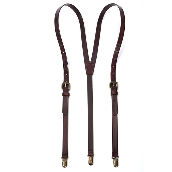 brown leather suspenders for men