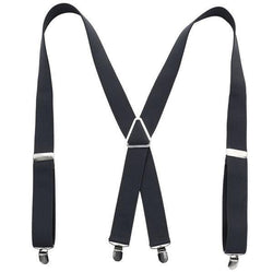 grey x back suspenders
