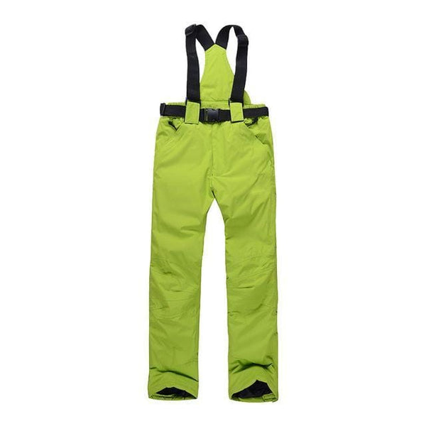green ski pants with suspenders