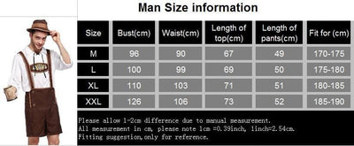 men's German suspenders size chart