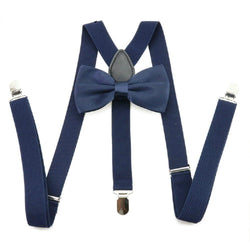 navy blue bow tie and suspenders set