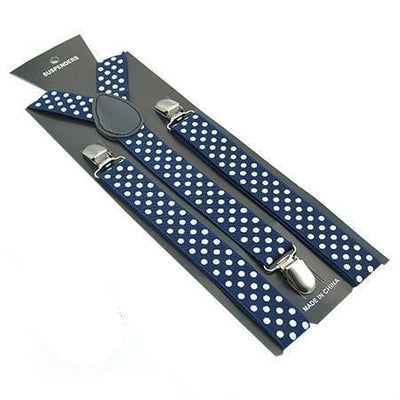 navy blue polka dot suspenders