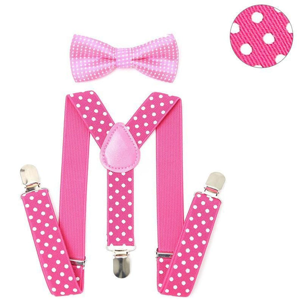 pink polka dotted kids suspenders