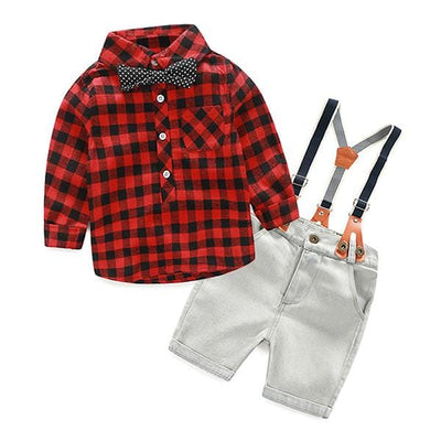 Boys Flannel Suspenders Outfit