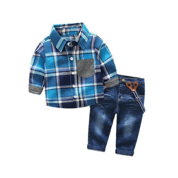 Blue Boys Suspenders Outfit
