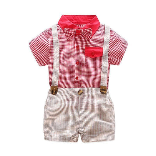 Red Toddler Suspenders Outfit