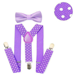 purple polka dotted kids suspenders